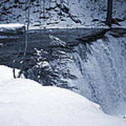Winter Waterfall Snow Poster