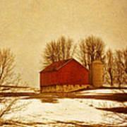 Wisconsin Barn In Winter Poster