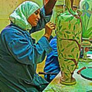 Woman Artisan At Mosaic School In Madaba In Jordan  Poster