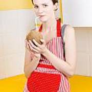 Woman Drinking Coconut Milk In Kitchen Poster
