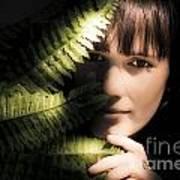 Woman Hiding Behind Fern Leaf Poster
