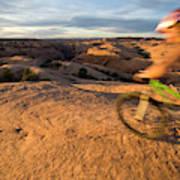 Woman Mountain Biking, Moab, Utah Poster