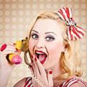 Woman On Banana Telephone. Health Eating News Poster