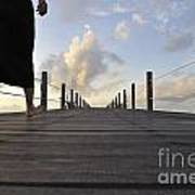 Woman Walking On Wooden Jetty At Sunrise Poster by Sami Sarkis