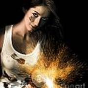 Woman With Angle Grinder Spraying Sparks Poster