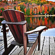 Wooden Dock On Autumn Lake Poster