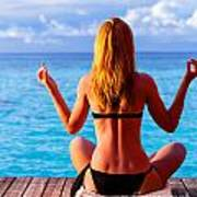 Yoga Exercise On Seashore Poster