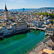 Zurich From The Grossmunster Poster