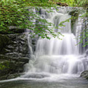 Stunning Waterfall Flowing Over Rocks Through Lush Green Forest  Poster