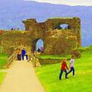 Tourists And The Path At Ruins Of The Urquhart Castle Poster