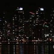 San Diego Skyline Night Poster