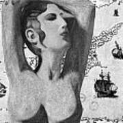 Ancient Cyprus Map And Aphrodite Poster
