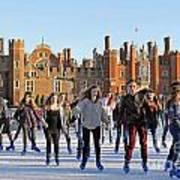 Ice Skating At Hampton Court Palace Ice Rink England Uk Poster