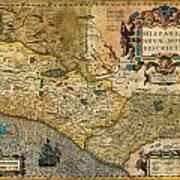 1606 Hondius And Mercator Map Of Mexico Geographicus Hispaniae Nova Mexico Mercator 1606 Poster