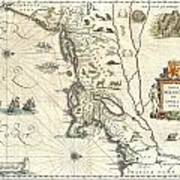 1635 Blaeu Map Of New England And New York Poster by Paul Fearn