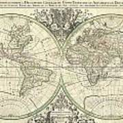 1691 Sanson Map Of The World On Hemisphere Projection Poster