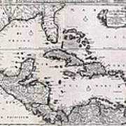 1696 Danckerts Map Of Florida The West Indies And The Caribbean Geographicus Westindies Dankerts 169 Poster