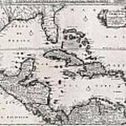 1696 Danckerts Map Of Florida The West Indies And The Caribbean Poster