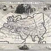 1700 Cellarius Map Of Asia Europe And Africa According To Strabo Poster