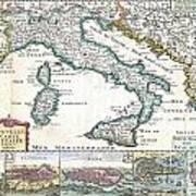 1706 De La Feuille Map Of Italy Poster