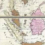 1710 Ottens Map Of Southeast Asia Singapore Thailand Siam Malaysia Sumatra Borneo Poster