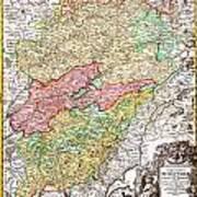 1716 Homann Map Of Burgundy France Geographicus Burgundiae Homan 1716 Poster