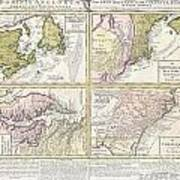 1737 Homann Heirs Map Of New England Georgia And Carolina And Virginia And Maryland Poster