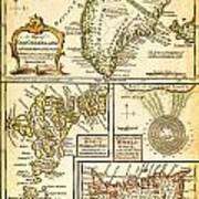 1747 Bowen Map Of The North Atlantic Islands Greenland Iceland Faroe Islands Maelstrom Geographicus  Poster