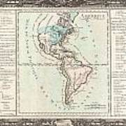 1760 Desnos And De La Tour Map Of North America And South America Poster
