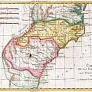 1780 Raynal And Bonne Map Of Southern United States Poster