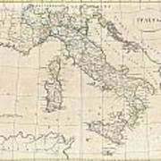 1799 Clement Cruttwell Map Of Italy Poster
