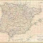 1799 Clement Cruttwell Map Of Spain And Portugal Poster