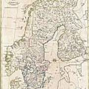 1799 Clement Cruttwell Map Of Sweden Denmark And Norway Poster