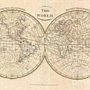 1799 Cruttwell Map Of The World In Hemispheres Poster