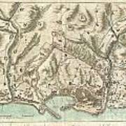 1800 Bardi Map Of Genoa Genova Italy  Poster