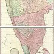 1800 Faden Rennell Wall Map Of India Poster