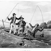 1800s Three 19th Century Men In Boat Poster