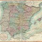 1801 Cary Map Of Spain And Portugal Poster