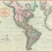 1806 Cary Map Of The Western Hemisphere  North America And South America Poster
