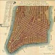 1807 Bridges Map Of New York City Poster