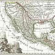 1810 Tardieu Map Of Mexico Texas And California Poster
