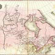 1818 Pinkerton Map Of British North America Or Canada Poster
