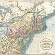 1821 Cary Map Of New England New York Pennsylvania And Virginia Poster