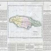 1825 Carez Map Of Jamaica  Poster