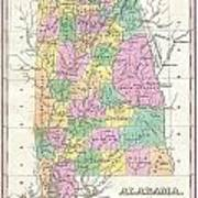 1827 Finley Map Of Alabama Poster