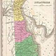 1827 Finley Map Of Delaware Poster