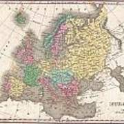 1827 Finley Map Of Europe Poster