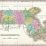 1827 Finley Map Of Massachusetts Poster