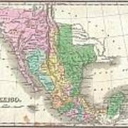 1827 Finley Map Of Mexico Upper California And Texas Poster