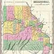1827 Finley Map Of Missouri Poster